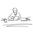 businessman with glasses working on his desk vector image