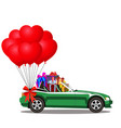 cabriolet car full of gift boxes and bunch of red vector image vector image