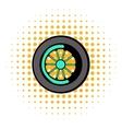 Car wheel icon comics style vector image