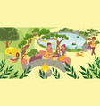 character male female picnic in national park vector image vector image