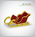 Christmas sleigh 3d vector image