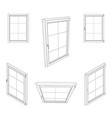 closed window set isolated on white background vector image vector image