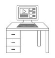 computer and desk black and white vector image vector image