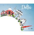 Delhi Skyline with Gray Buildings Blue Sky vector image vector image