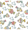 doodle seamless pattern with fishes vector image vector image