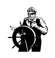 Fisherman Sea Captain At Helm Retro vector image vector image