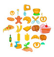 fresh bakery icons set cartoon style vector image