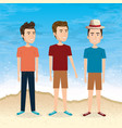 friends in the beach summer vacations vector image vector image