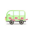 green colorful bus van just married couple vector image vector image