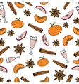 hand draw seamless pattern with mulled wine vector image vector image
