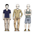 handsome men posing in stylish casual clothes vector image vector image
