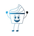 happy cupcake kawaii sweet mascot design image vector image