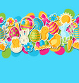happy easter seamless pattern with holiday vector image