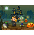 happy halloween witch and zombie in front of the h vector image vector image