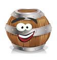 happy wood barrel character vector image vector image