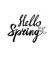 Hello spring inscription Greeting card with vector image vector image