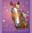 horse portrait with flowers7 vector image vector image