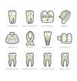 icons for dentistry lines vector image vector image