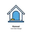 kennel line color icon vector image