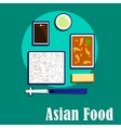 Korean cuisine dishes with shrimp rice and sauce vector image vector image