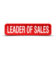 leader of sales red 3d square button isolated on vector image