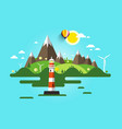 lighthouse flat design nature scene ocean or sea vector image vector image