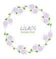 Lilac flower wreath logo design text hand drawn
