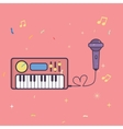 microphone and keyboard piano music instrument vector image vector image