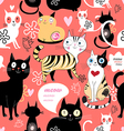 pattern in love with a cat vector image vector image