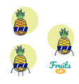pineapples cute fruits cartoons vector image vector image