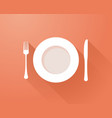 plate with cutlery and long shadows vector image vector image