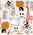 seamless pattern with cartoon hand drawn vector image vector image