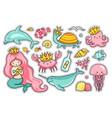 set of sea cartoon characters vector image vector image