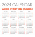 simple 2024 year calendar vector image vector image