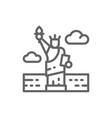 statue liberty usa landmark line icon vector image vector image