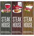 steak house banners with bullmeatwine and salad vector image vector image