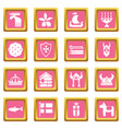 sweden travel icons set pink square vector image vector image