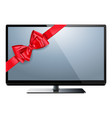 television with red bow vector image vector image