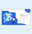 travel agency isometric landing page template vector image