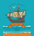 travel banner with sailing ship and inscription vector image vector image