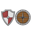 viking shields colored hand drawn sketch vector image vector image
