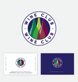 wine club logo color bottles into circle letters vector image vector image
