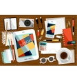 Workplace with office things vector image vector image