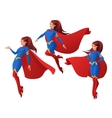 set of women in blue and red superhero vector image