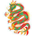 chinese red and green dragon with a pearl vector image
