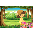 A beautiful lady picking up the flowers in the vector image vector image