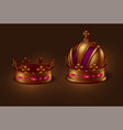 a set two gold imperial crowns different vector image vector image