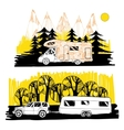 autumn landscape with camper van motorhome vector image vector image
