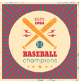 baseball vintage poster red vector image
