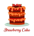 Cartoon cake with cream and strawberry vector image vector image